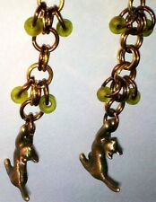Pair of Stretching Cat Charm Pendant Earrings 2pc NEW