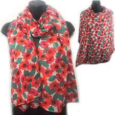 Red Poppy Flower Scarf Sarong Body Wrap Scarves Shawl Sarong Beach Large 180
