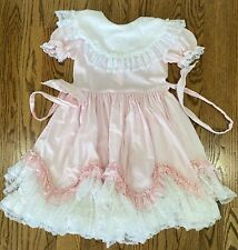New listing Lid'l Dollys Pink White Lace Ruffle Circle Skirt Pagent Dress Girls Sz 10 Flaw