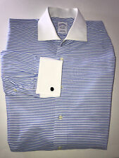 Brooks Brothers French-Cuff Blue And White Striped Button Down Men's Dress Shirt