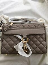 Nwt Rebecca minkoff Mini M.a.c Mac Crossbody Bag Gold Hardware Quilted Taupe