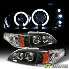 Black 94-98 Ford Mustang Dual Halo Projector Led Headlights Lights Left+Right
