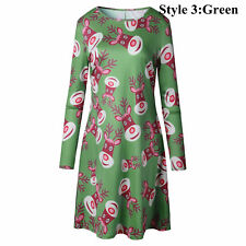 Womens Christmas Long Sleeve Reindeer Flared Swing Party Mini Dress  Xmas Dress