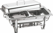 NEW BNIB STACKABLE STAINLESS STEEL CHAFING DISH 2 HALF SIZE FOOD PANS 8.5L