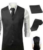 3Pcs Vest Tie Hankie Fashion Men's Formal Dress Suit Slim Tuxedo Waistcoat Black