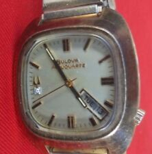 Vintage Bulova Accuquartz #2242 Mens Day and Date Tuning Fork Watch - No Reserve
