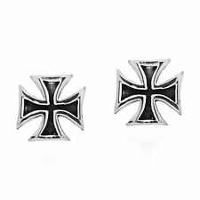 Hollow Maltese Iron Cross Stud .925 Silver Earrings