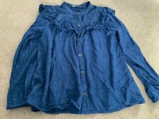 Blue sparkly girls blouse age 8-9