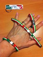 BRACCIALE TRICOLORE ITALIA BRACCIALETTO ITALIANO 3 COLORI 20cm Gomma Ferro NUOVO