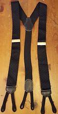 Black, Ribbed, Nylon, Suspenders/Braces (One Size)