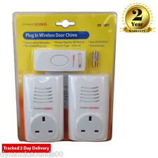 Dynamic Twin Plug in Wireless Door Bell Chime Mains with Socket UP TO 80M range