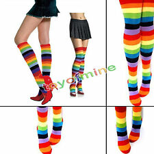 Women Cotton Blends  High Rainbow Striped Knee Socks