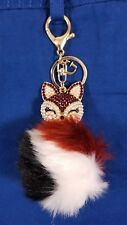 NWT GUESS Women's Fox Pom Pom *Bag Charm*  Keychain Red/Black/White ADORABLE!