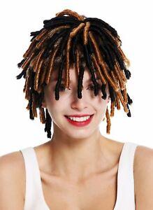 Wig Ladies Men's Carnival Spiral Curls Afrolocken Short Rasta Black Braun