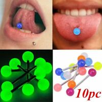 10pcs Glow In The Dark Luminous Barbell Lip Tongue Rings Body Piercing Jewelry