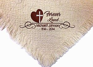 Personalized Embroidered Memorial Throw Blanket ~ Forever Loved Afghan Throw  ~