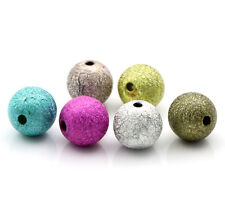 50 BEAUTIFUL LARGE HIGH QUALITY STARDUST RAINBOW METAL GLITTER ROUND BEADS 12mm