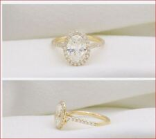 2Ct Oval Cut Brilliant Moissanite Bezel Set Halo Engagement Ring 14k Yellow Gold
