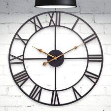 "Metal Wall Clock 18"" Roman Numeral Vintage Non Ticking Wall Clock"