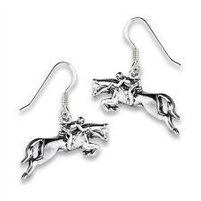 Sterling Silver Jumping HORSE Horseracing Earrings Hook Jewelry 925 Dangle