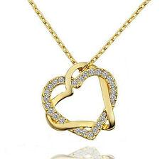 Damen Herz Anhänger Halskette Gelbgold 18K Vergoldet Doppelherz Love Zirkon 063