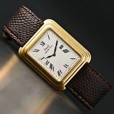 Rare Piaget 74121 Beta Quartz Solid 18K Gold Man's Back-Set Watch, NEEDS REPAIR
