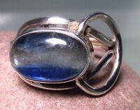 Sterling silver blue kyanite oval silver knot stone ring UK K/US 5.5.