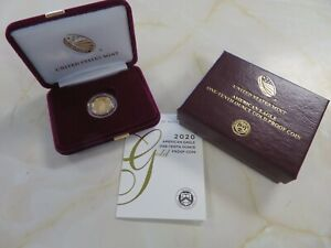 2020 W PROOF American Gold Eagle $5 1/10 ounce with Box and COA FREE SHIPPING
