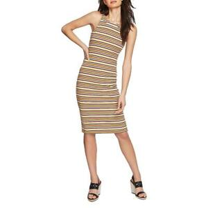 1.State Womens Dialogue Yellow Striped Cut-Out Casual Bodycon Dress XS  1986