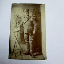 ANTIQUE WW1 REAL PHOTO PORTRAIT POSTCARD BRITISH ARMY SOLDIER #2