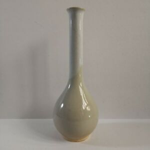 Japanese Pottery Cracled Two-toned Beige Flower Vase