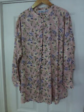 NWOT WOMENS WHITE STAG TUNIC TOP BLOUSE LARGE PINK FLORAL LONG SLEEVE