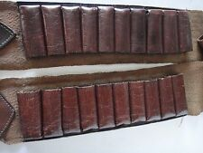 VINTAGE Cartouchière 20 balles Fusil Chasse Ceinture en cuir/toile  L=105cm
