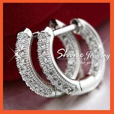 Solid Crystal Hoop Huggie Sleeper Earrings 9K White Gold Gf Lady Vintage Wedding