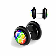 2 Stück Fake Plug Ohrstecker Acryl Rainbow Gay Ohrring Tunnel Schwarz Ø 10mm