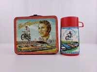 Vintage Evel Knievel Metal Lunch Box With Thermos Aladdin 1974