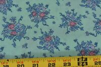 By 1/2 Yd, Vintage,Blue & Pink Floral on Mint Slightly-Stiff Cotton Fabric N6035