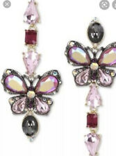 $58  Betsey Johnson BUTTERFLY BLITZ Tri-Tone Crystals Linear Drop Earrings #205