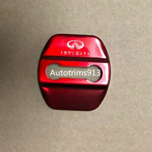 Red Car Accessories Door Strikers Lock Buckle Cap Protective Cover For Infiniti