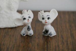 Vintage Tiny Porcelain Miniature MOUSE Pair MICE Mini figurine Pink Flower