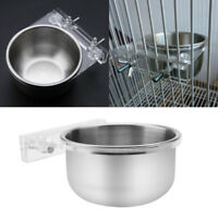 1 Pair Stainless Steel Hanging Bowl + Rack Bird Food Feeder Parrots Cage Hanger