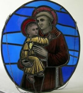 Antique stained glass Church window Saint Anthony of Padua