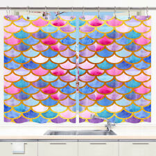 Colorful Mermaid tail Window Treatments for Kitchen Curtains 2 Panels, 55X39in