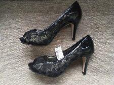 Next Ladies Black Patent Peep Toe Gold Mesh Party Shoes Size 5 1/2 New Rrp £36