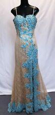 Sherri Hill 9817 Jeweled Lace Mermaid Prom Gown CB8 Nude/Aqua Size 6 NWT $500