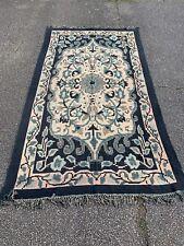 Antique Vintage Woven Throw Blanket Bedspread Rug Carpet Blue Beige Turquoise XL