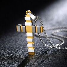 Pendant Rolo Link Chain Necklace #N209 Mens Womens Stainless Steel 2 Tone Cross