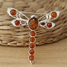 Cognac Baltic Amber 925 Sterling Silver Dragonfly Brooch Pin Jewellery