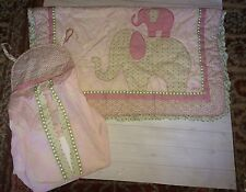 CoCaLo Baby Girls Bella Pink Elephant Crib Quilt & Diaper Stacker Free Ship