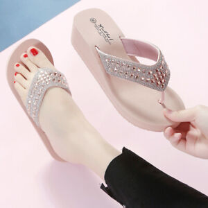 Women Rhinestones Wedge Platform Thong Flip Flops Sandals Beach Slippers Shoes